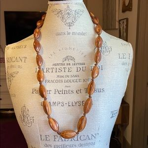 Wooden beaded light brown ribbon necklace